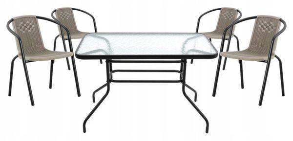 Zestaw Mebli Ogrodowych Stolik + 4x Krzesło Patio Komplet