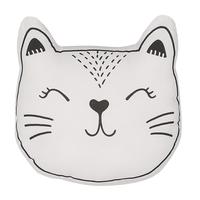 Bawełniana poduszka dla dzieci kot 42 x 38 cm biało-czarna CENNAJ