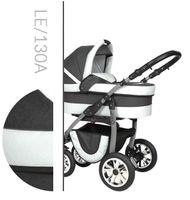 Leo Baby Merc tani nowoczesny wózek dziecięcy wielofunkcyjny 3w1 biało szary