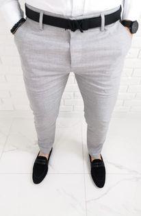 Jasnoszare bawelniane eleganckie spodnie meskie slim fit 1474 - 32