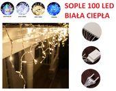 10x SOPLE 100 LED LAMPKI CHOINKOWE BIAŁE CIEPŁE