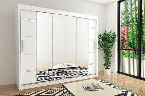 Szafa przesuwna garderoba Verona 4-250 z lustrem biała wenge sonoma na Arena.pl