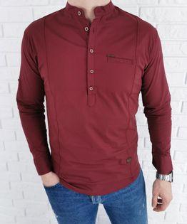 Bordowa męska koszula ze stójką zapinana do połowy - M