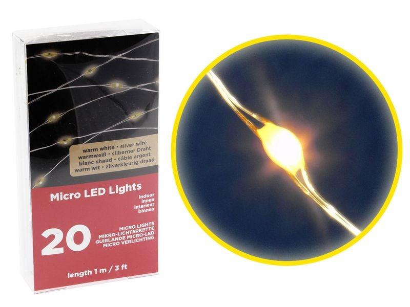 LAMPKI DRUCIKI MICROLED Mikro 20l Ciepłe, Baterie zdjęcie 1