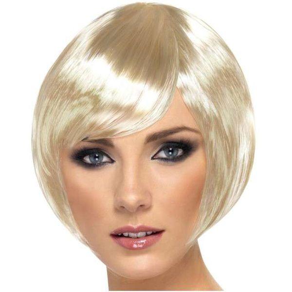 Peruka Krótkie Włosy Blond Bob Babe Z Grzywką