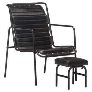Lumarko Fotel wypoczynkowy z podnóżkiem, czarny, skóra naturalna!