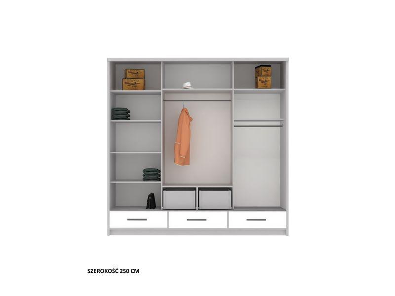 Szafa garderoba przesuwna 250 cm połysk półki szuflady lustro zdjęcie 2