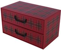 Pudełko Kartonowe 2 Szuflady Poziome Szkocka Krata Bordo