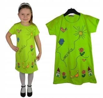 Sukienka/tunika Wiosna zielona, bawełna roz.128