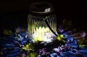 Lampion solarny 3 LED biały szklany