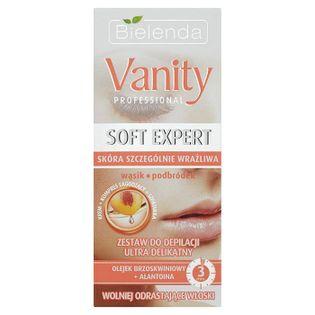 Vanity Professional Soft Expert zestaw do depilacji twarzy ultra delikatny krem 15ml + kompres 10ml + szpatułka