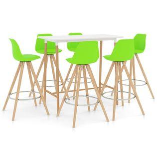 Lumarko 7-częściowy zestaw mebli barowych, zielony