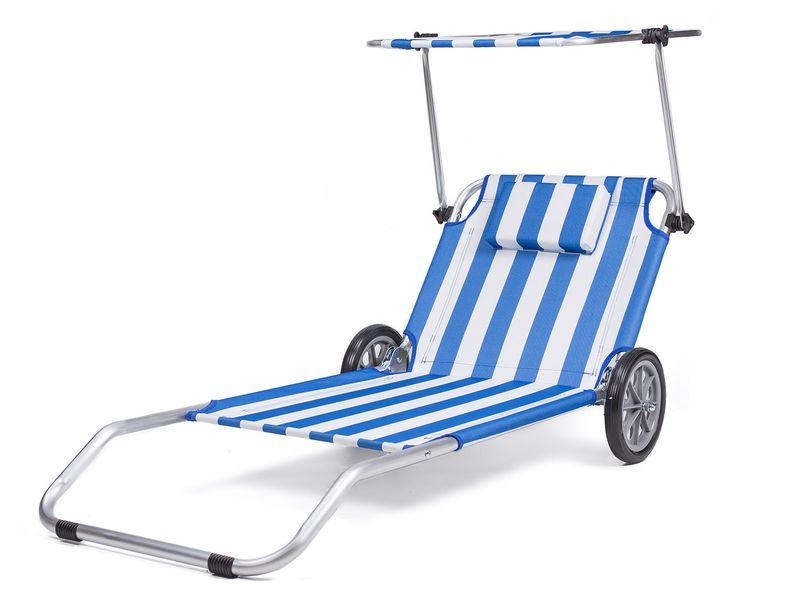 Leżak plażowy fotel ogrodowy na kółkach 3w1 Daszek zdjęcie 1