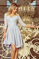 Wyszywana sukienka z asymetrycznym dołem - Szary M