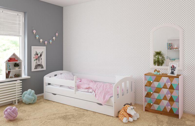 Łóżko FIFI 140x80 + szuflada + barierka zabezpieczająca + MATERAC zdjęcie 1