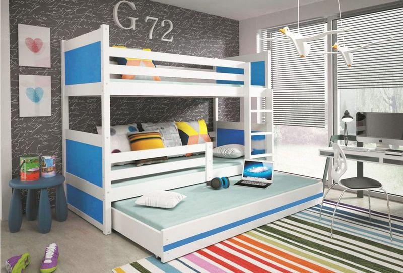Łóżko meble dla dzieci drewniane Mateusz 190x80 piętrowe 3osobowe zdjęcie 3