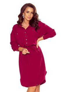 Sukienka o koszulowym kroju z wiązaniem w pasie - Bordowy S