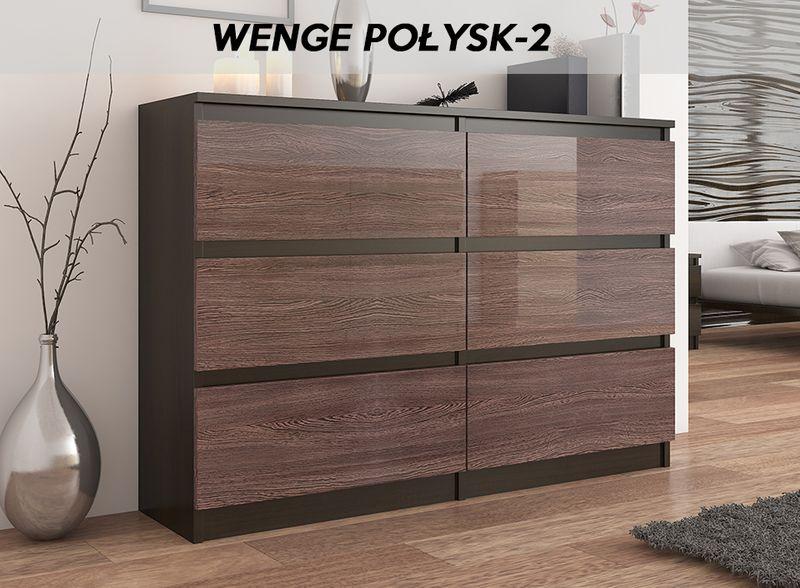 Duża KOMODA 140CM SZAFKA 6 SZUFLAD Wenge Połysk zdjęcie 4
