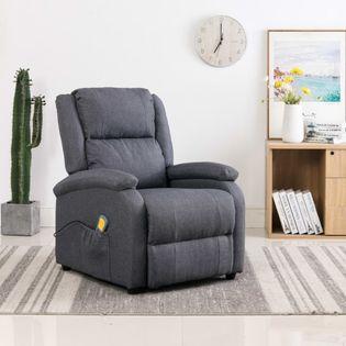 Elektryczny Fotel Masujący, Rozkładany, Ciemnoszary, Tkanina