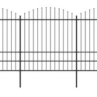 VidaXL Panele ogrodzeniowe z grotami, stal, (1,75-2) x 13,6 m, czarne