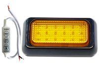 Lampa 18 LED 10x6 pomarańczowa + sterownik 12v 24v ostrzegawcza kogut