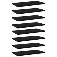 Lumarko Półki na książki, 8 szt., czarne, 40x20x1,5 cm, płyta wiórowa