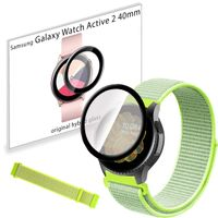 Pasek nylonowy opaska i szkło 3D do Samsung Galaxy Watch Active 2 40mm Flash Light