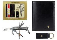 Zestaw prezentowy Peterson: portfel męski skórzany, breloczek, scyzoryk