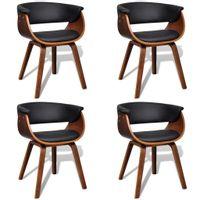 Krzesła do jadalni, 4 szt., gięte drewno i sztuczna skóra