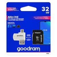 Goodram All In One 32 Gb Karta Pamięci Micro Sd Hc Uhs-I Class 10, Adapter Sd, Czytnik Kart Micro Sd Otg (Usb, Micro Usb) (M1A4-0320R12)