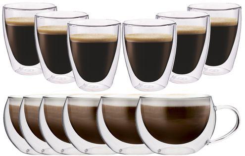 Szklanki z Podwójną Ścianką Kawy Herbaty Cappucino i Coffee 12 sztuk