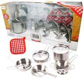Garnki metalowe dla dzieci akcesoria kuchenne zestaw 14 elementów U30 zdjęcie 1