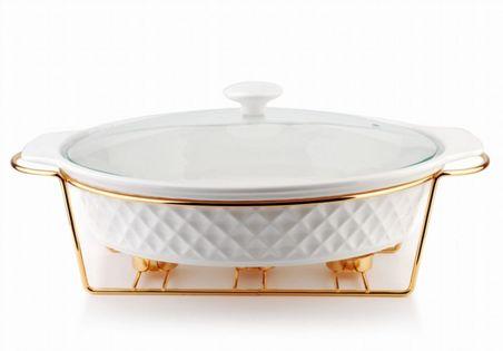Ceramiczne Naczynie Żaroodporne Z Podgrzewaczem 2.6L Diament Mondex Htn6308