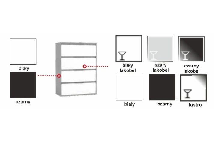 Szafa przesuwna 250cm RUN AR - Czarny Biały + lacobel + lustro zdjęcie 3
