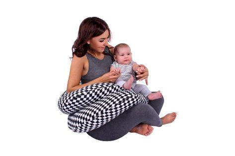 Lulando Poduszka dla kobiet w ciąży biało-czarne romby