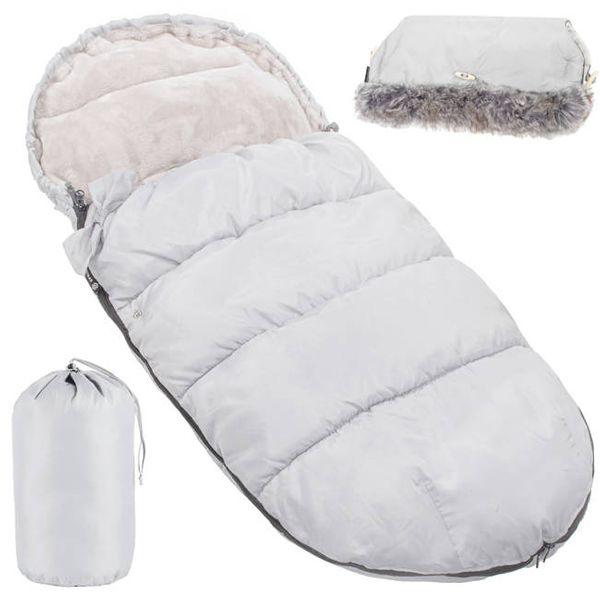 Śpiworek do wózka 4w1, mufka, śpiwór do sanek, gondoli z torbą 90 cm szary na Arena.pl