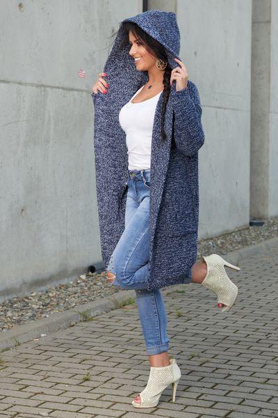 Mięciutki otulający Kardigan sweter melanż 103 zdjęcie 7