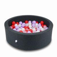 Suchy basen 90x30cm grafitowy z piłeczkami 200szt(przezroczyste, perłowe, wrzosowe, czerwone)