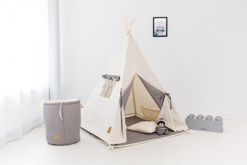 Namiot tipi dla dziecka Naturalna Szarość - zestaw mini zdjęcie 2