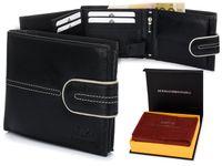 Ekskluzywny Alessandro Paoli czarny męski portfel Poziomy skórzany K60