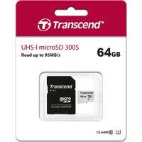Transcend Memory microSDXC - Karta pamięci 64 GB Class 10 UHS-I U1 95/25 MB/s z adapterem