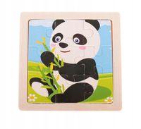 UKŁADANKA PUZZLE DREWNIANE Panda 9 el 11x11 cm