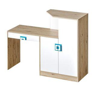 NICO meble _11 biurko - komoda dąb jasny / biały dąb jasny / biały turkus