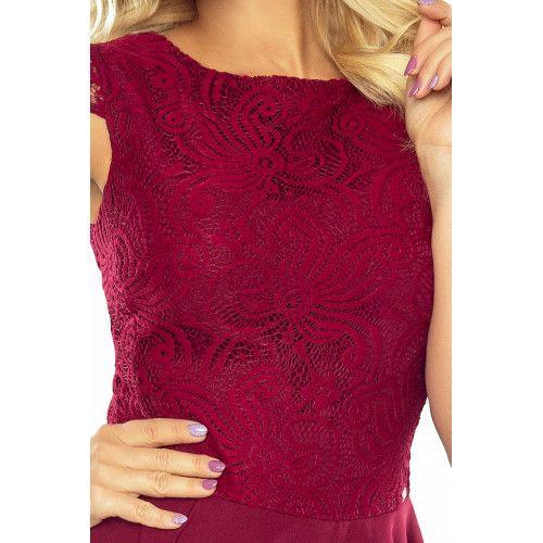 Sukienka rozkloszowana MARTA z koronką - BORDOWA L zdjęcie 5
