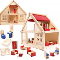 Domek dla lalek drewniany z akcesoriami Montessori 40cm