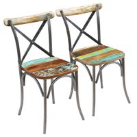 Krzesła stołowe, 2 szt., lite drewno z odzysku
