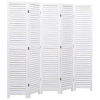 Parawan 5-Panelowy, Biały, 175 X 165 Cm, Drewniany