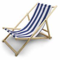 Leżak Plażowy Leżak ogrodowy Biało-Granatowe Paski
