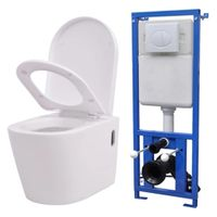 Toaleta wisząca ceramiczna podtynkowa biała VidaXL