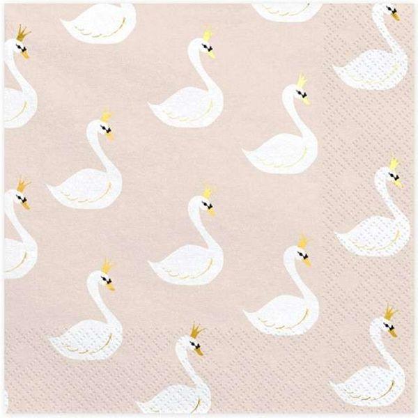 Serwetki Beżowe Lovely Swan łabędź Biały 20 Szt